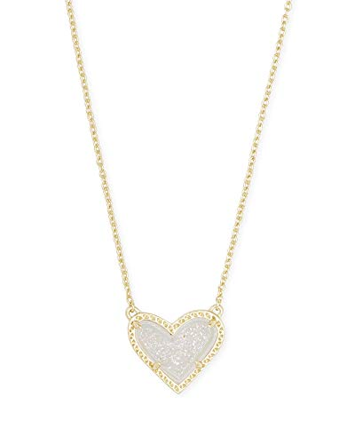 Kendra Scott Ari Heart Adjustable Length Pendant Necklace for Women Fashion Jewelry 14k GoldPlated Iridescent Drusy