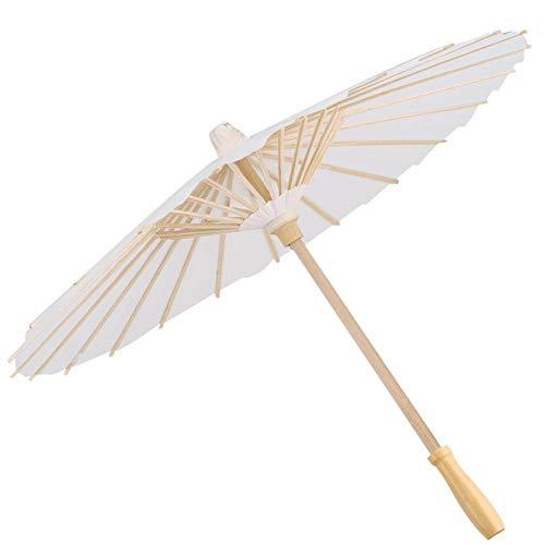 Paraguas de papel, papel de color blanco, paraguas decorativo, sombrilla, decoración de fiesta nupcial, foto, accesorio de cosplay, protección solar personal(60cm)