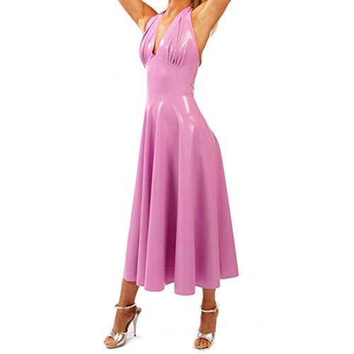 Lederunterwäsche für DamenNatur Latex Gummi Langes Kleid Latex Sexy Kostüme Ballkleid Röcke Zurück Zip-Pink_M