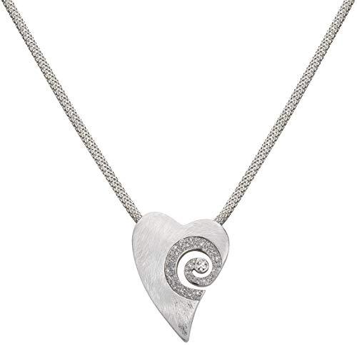 Perlkönig Milanese Kette Halskette | Damen Frauen | Herz förmig mit Schnecke in Silber| Matt Strukturiert | Glitzer Steine | Karabiner | Nickelabgabefrei
