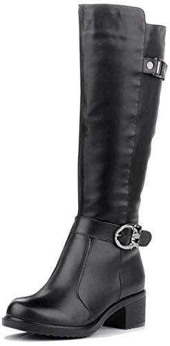 HuskSware Mode Femme Bottes en Cuir Occasionnels sur La Plate-Forme de Bottes,Noir,40 EU