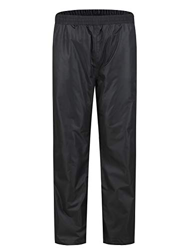 "SWISSWELL Men's Rain Jacket Pants Waterproof Foul Weather Rainwear for Cycling Hiking Travel (Black, Medium(Length 43.7""))"