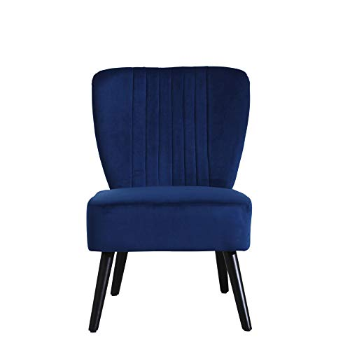 Neo® Crushed Velvet Shell Scallop Accent Occasional Chair Armchair Dining Furniture (Midnight Blue, 1)