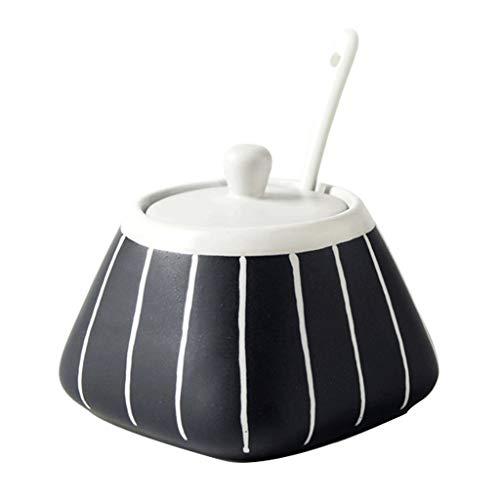 ZYING Azucarero, Azucarero de cerámica con Tapa y Cuchara for el hogar y la Cocina (Color : A)