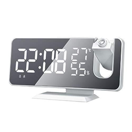 GARNECK Reloj Despertador Digital, Despertador Digital LED con Función de Radio FM, Puerto de Carga USB Diseño de Espejo Pantalla de Temperatura y Humedad, Brillo de 4 Niveles, 2 Despertadores, Snooze