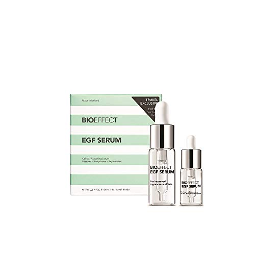 Bioeffect EGF Serum Treatment Duo with Hyaluronic Acid, Enhance Skin with Moisturizing, Firming, Wrinkle-Fighting Treatment for Face And Neck, Day And Night, Best Derma Roller Facial Serum