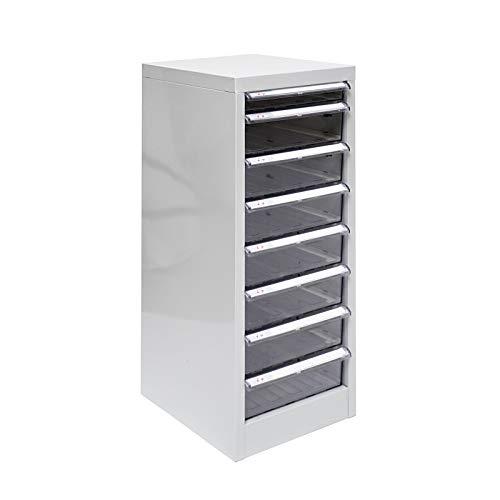 ADB Schubladenschrank mit 8 Schubladen/Schubladen-Container/Metall Büroschrank, Lichtgrau (RAL...