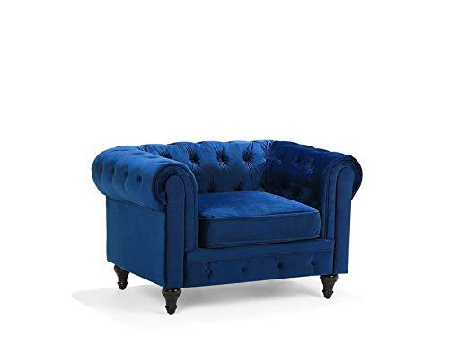 Beliani Klassischer Sessel im englischen Stil Samtstoff Marineblau Chesterfield