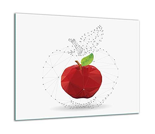 TMK | Placa de cristal para cubrir la cocina de 60 x 52 cm, una sola pieza, protección contra salpicaduras, color blanco manzana
