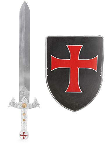 Generique - Kinder-Kreuzritter-Set mit Schwert and Schild schwarz-rot-silberfarben