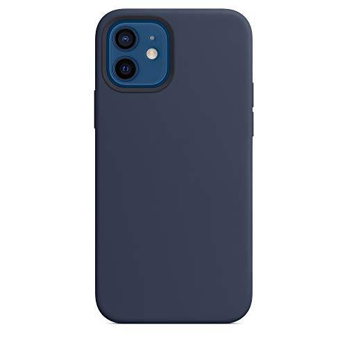 2020 Convient pour iPhone 12 et 12 Pro de 6,1 pouces Coque en silicone avec mag-safe, logo sur la partie arrière (bleu marine intense)
