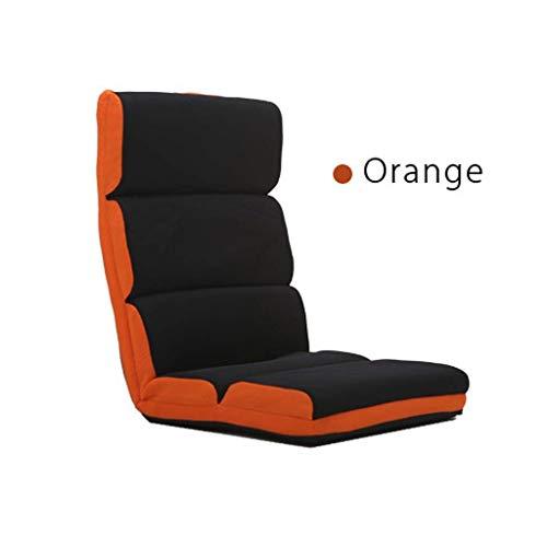 JMTLLLDY Meditationsstuhl, Japanischer Lazy Couch Chair Einzelner Legless-Freizeit-Liegesessel Computer-Stuhl Schlafzimmer Erkerfenster Boden Stuhl Stuhl, Mehrfarbig Optional (Color : Orange)