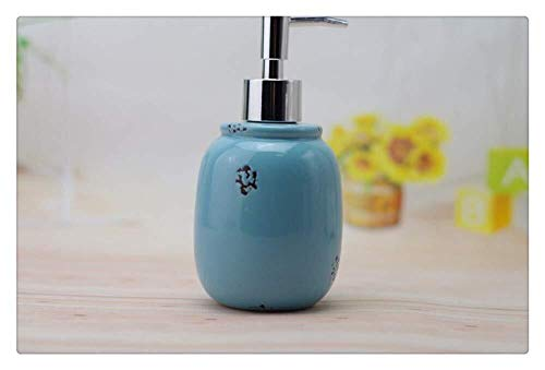 Pgs Vloeibare zeep Container, Oriental Simple Eco Resin Blue Keramiek Art zeepdispenser, Handmade Modern Ball Shampoo Hand Sanitizer Fles for Keuken Badkamer, 440ml