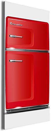 Wallario XXXL Riesen- Leinwandbild Roter Kühlschrank - 80 x 200 cm Brillante lichtechte Farben, hochauflösend, verzugsfrei