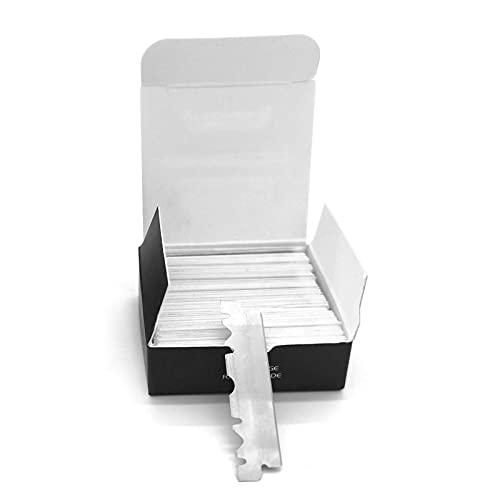 tanbea-ES Cuchillas de Afeitar de un Solo Filo para Cuchillas de Afeitar Profesionales Rectas de Peluquero, Paquete de 100