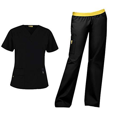 WonderWink Origins Women's Medical Uniforms Scrubs Set Bundle- 6016 Bravo V-Neck Scrub Top & 5016 Quebec Elastic Cargo Scrub Pants & MS Badge Reel (Black - Medium/Medium)