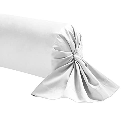 Taie de traversin percale blanche 90 cm