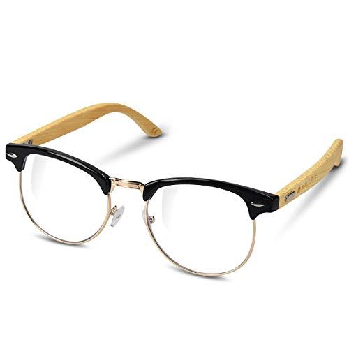 Navaris gafas de bambú - Gafas sin graduar con patillas de madera - Gafas retro para hombre y mujer - Gafas con filtro bloqueador de luz azul