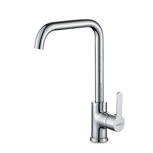 KAIBOR Chrom Küchenarmatur 360° drehbar Wasserhahn Küche, Einhebelmischer Spültisch Armatur für Küche Spüle, Verchromt Spültischarmatur Mischbatterie