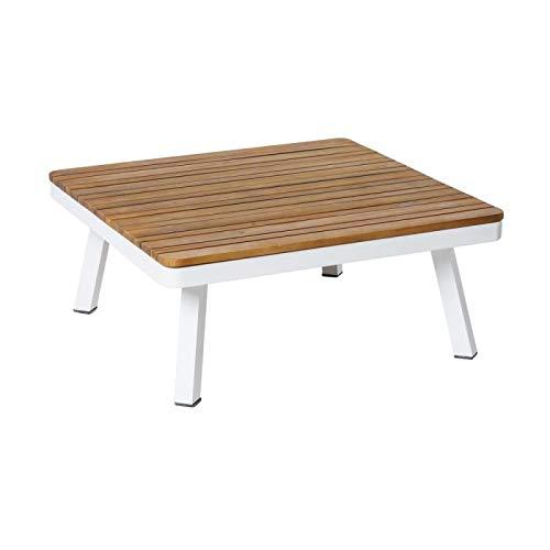 Tousmesmeubles Table Basse d'extérieur Bois/Aluminium Blanc - SOLOR - L 75 x l 75 x H 31 - Neuf