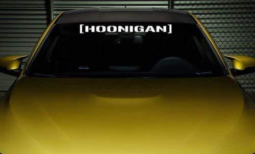 [Hoonigan] Hoonigan Coche Discos Delanteros Ventanas Traseras Pegatina Superior Sponsor Adhesivo Pegatina Película - Blanco Brillosa