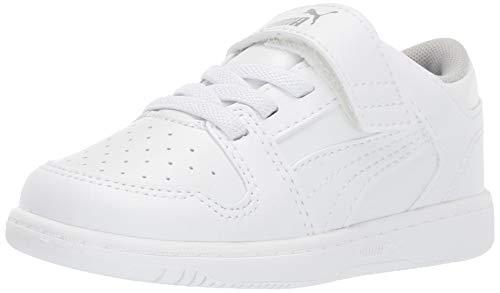 PUMA Unisex-Baby Rebound Layup LO Hook and Loop Sneaker White-High Rise, 8 Toddler