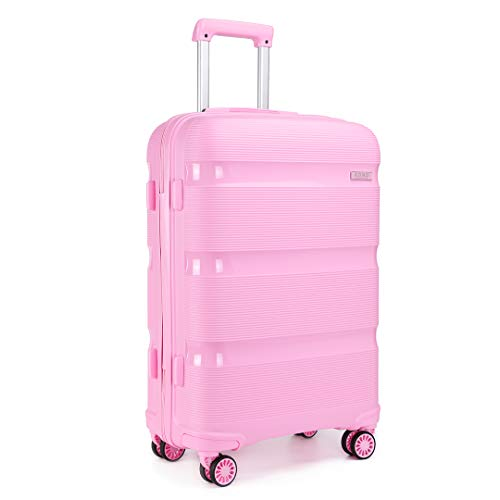 Kono 24 inch Medium Check in Luggage 66L TSA Lock Lightweight Polypropylene Hard Shell Suitcase (Pink,65cm)