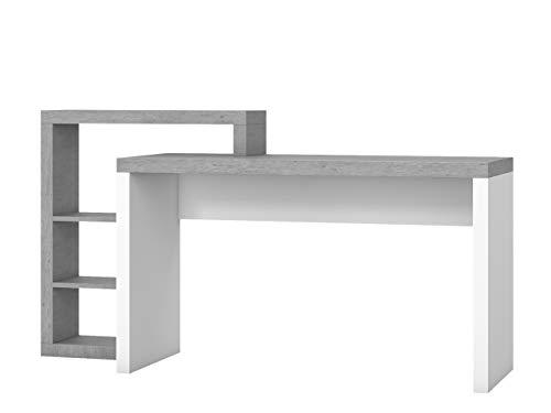 Schreibtisch Bota M 35 mit Aufsatz, Schülerschreibtisch, Kinderschreibtisch, Arbeitstisch, Computertisch, PC-Tisch für Jugendzimmer (Weiß / Colorado Beton, Seite: Links, mit weißer LED Beleuchtung)