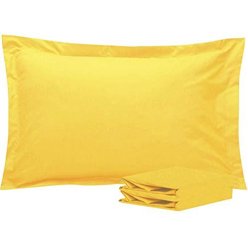 NTBAY Fundas de Almohada Oxford de Microfibra, Paquete de 2 Fundas de Almohada Oxford Antiarrugas y Resistentes a Las Manchas Suaves y Acogedoras, 50x75 cm, Amarillo