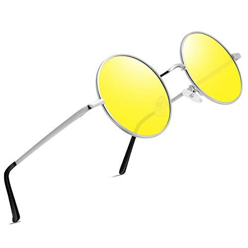FEIDU Retro Vintage Runde sonnenbrille herren - Polarisiert mit rundem Metallrahmen,sonnenbrille damen FD 3013 (Gelb, 1.81)