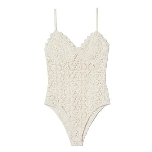 Pizzo Body Donna Estivi Elegante Sexy Nero Bianco Rosa Senza Schienale Camisole Capestro Bodysuit Tutina Tops (Bianco, Medium)