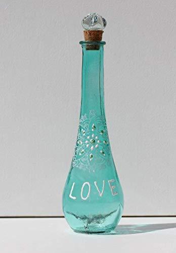 Flasche Türkis Weiß mit Schriftzug LOVE für Liebe und Glück, Wellness Glas Deko in Blau, Geschenk zur Verlobung, Dekoration für Hochzeit, INaCHI Glücksbringer Design-Serie