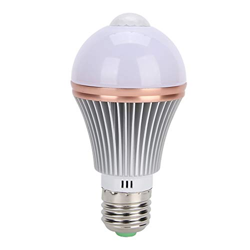 Luz do sensor de material de alumínio, bulbo do sensor Bulbo do sensor do corpo de alto brilho, 7W E27 para escada doméstica(Warm White)