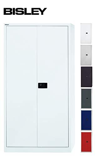 BISLEY Aktenschrank | Werkzeugschrank | Flügeltürenschrank aus Metall abschließbar inkl. 3 Einlegeböden | Stahlschrank in weiß