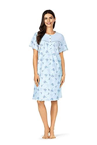 Comtessa Nachthemd Nachtkleid Schlafkleid Nachtwäsche Damen blau apricot 100% Baumwolle (blau, 3XL)