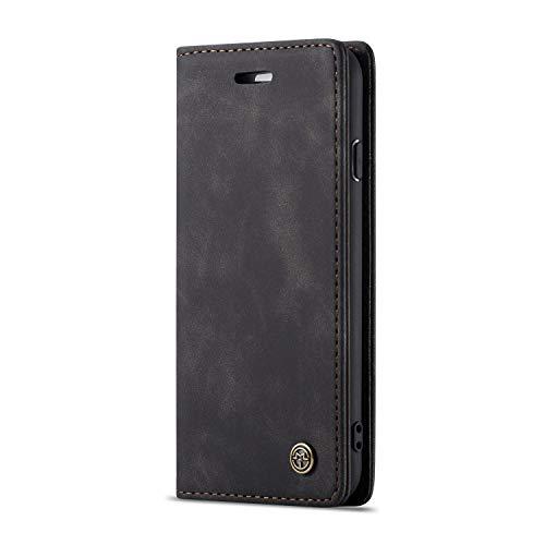 JMstore Funda Compatible con iPhone 6/7/8/SE 2020, Magnético Carcasa Funda Móvil Billetera Cuero Funda con Tapa Libro Caso Soporte Plegable (Negro)