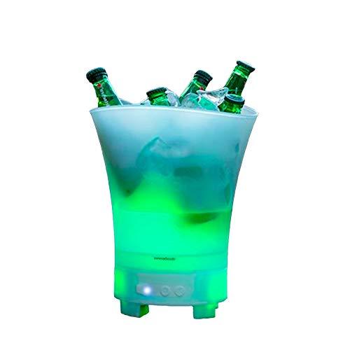InnovaGoods IG815493 Secchiello per ghiaccio a LED con altoparlante ricaricabile Sonice, PP