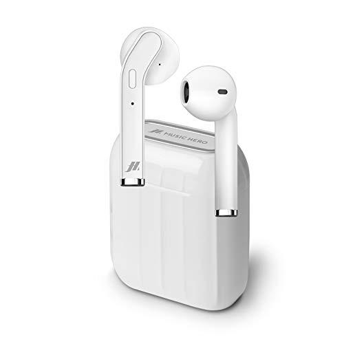 SBS Auricolari Twin Style True Wireless Stereo con Microfono e Tasto Risposta Fine Chiamata, Custodia di Ricarica da 300mAh, fino a 2.5 Ore di Ascolto Musica, Bianco