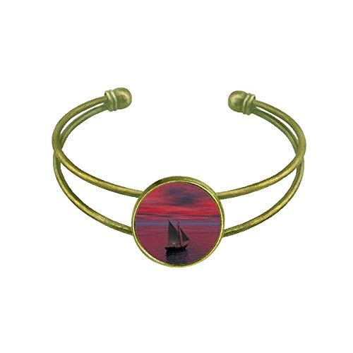 DIYthinker Ocean Red Sky Boot People Bild Armband Armreif Retro Open Cuff Schmuck