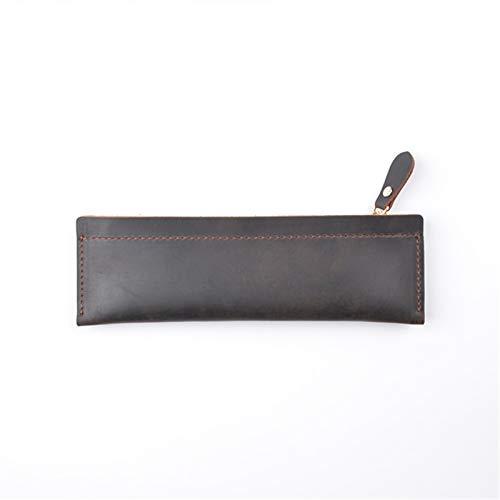 Caja de lápices de Cuero Genuino - Caja de Pluma con Cremallera Papelería Bolsa Zipper Pollo de lápiz (Color : Coffee, Size : 190mmx60mm)