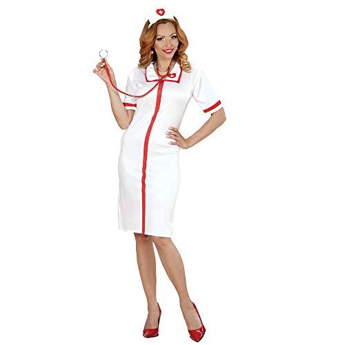WIDMANN- Enfermera disfraz adultos, Color blanco, M (00042)