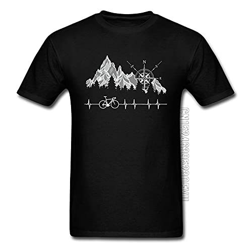 KAIQU Cycle Life Heartbeat Biker Men Tshirt Mountain Forest Hiking Printed Tops & Tees Compass Bike Casual Funny T-Shirts 100% Cotton Black M