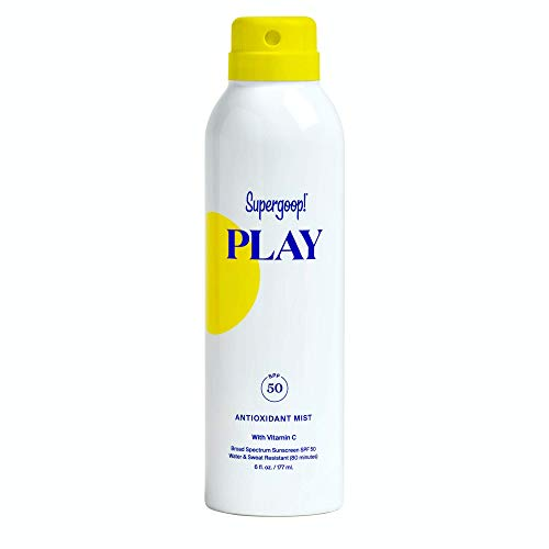 Supergoop! PLAY SPF 50 Antioxidant-Infused Body Mist w/ Vitamin C, 6 fl oz - Reef-Safe, Broad Spectrum Sunscreen Spray - Body Sunscreen for Sensitive Skin - Clean ingredients - Great for Active Days