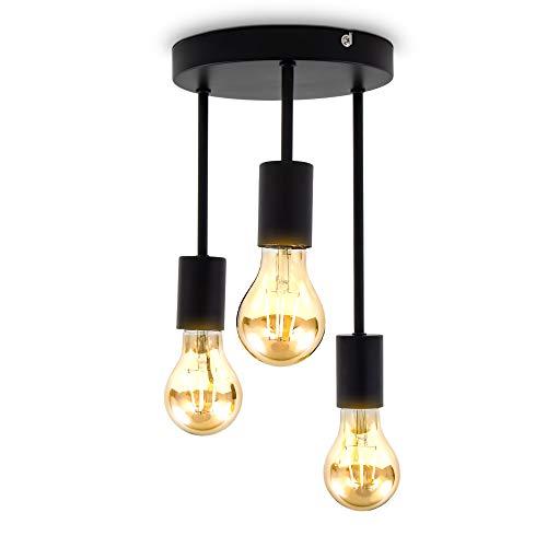 B.K.Licht I 3-flammige Retro Deckenleuchte I E27 I Matt Schwarz I Metall I Ø19 x 31 cm I ohne Leuchtmittel
