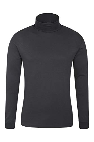 Mountain Warehouse Meribel Mens Thermal Baselayer Top - Combed Cotton Sweater, Roll Neck Jumper, Breathable, Quick Drying & Fitted Sleeves - for Everyday Winter Use Black XL