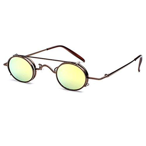 Juleya Juleya Retro Vintage Sonnenbrille Damen Herren Kleine Runde Steakpunk Abnehmbare Sonnenbrille C2