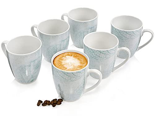 Sänger KaffeebecherSarti6 teiligesBecher-Set für 6 Personen aus Steingut,Trinkbecher350ml, erweiterbar, Alltag, besonderes Dinner, Outdoor,Tassen-Set Illustrationen