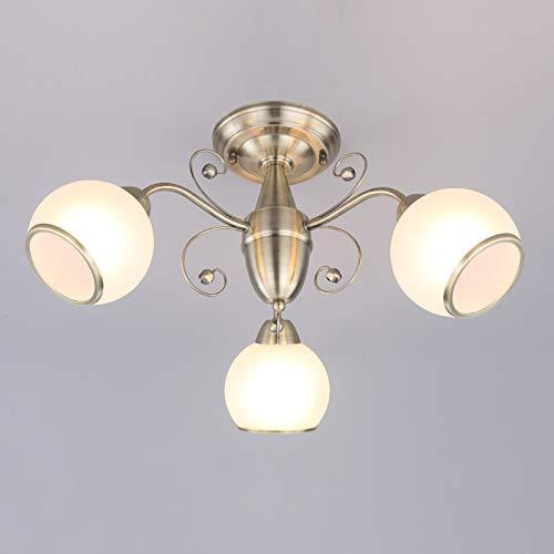 Lindby Deckenlampe 'Corentin' dimmbar (Retro, Vintage, Antik) in Bronze aus Glas u.a. für Wohnzimmer & Esszimmer (3 flammig, E14, A++) - Deckenleuchte, Lampe, Wohnzimmerlampe