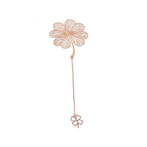 yueton Metal Leaf Bookmarks Clover Leaf Bookmarkers Rose Gold Plated Brass Page Marker with Metal Pendant for Book Lovers
