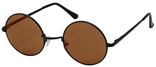 La Optica B.L.M. Sonnenbrille Damen Herren UV400 John Lennon Rund Retro - Schwarz (Gläser: Braun)
